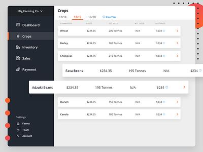 Ag // crops list view web app table tabs sidebar list view product design web design ui