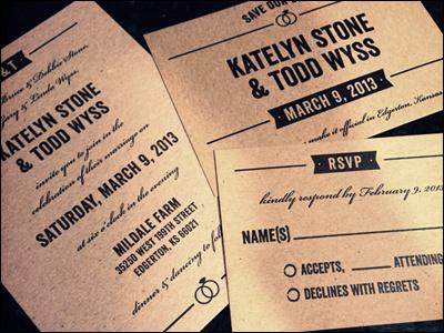 K&T Wedding Suite wedding invitation invite letterpress chipboard ribbon veneer rsvp save the date design typography