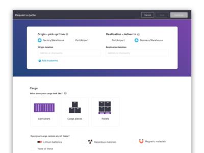 Quote request radio selectors gradient purple logistics form web