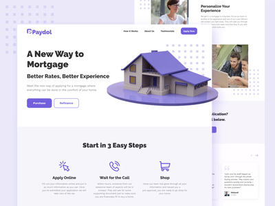 PAYDOL 🏡 - Mortgage Services Landing Page Exploration landing page design financial finance housing purple service payment mortgage animation landing page website design website web design webdesign ui design uidesign ui landingpage landing design