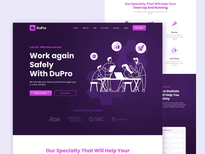 DuPro 🍺 \ Coworking Space Landing Exploration landing page ui violet purple new normal coworking space coworking work office animation website design website web design webdesign ui design uidesign ui landing page landingpage landing design