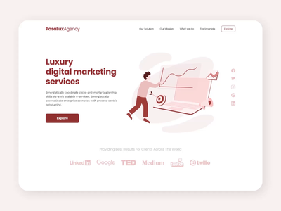 Pasalux 🚀 | Digital Marketing Landing Page Exploration digital marketing red digital marketing design illustration animation landing page design landing page landing web design web website design website