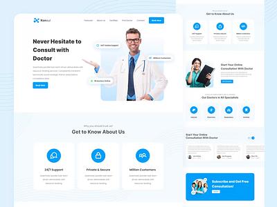Konsul 🚑 | Health & Medical Consultaion Landing Exploration landing web design doctor blue ui consultation online health medical website design landing page animation