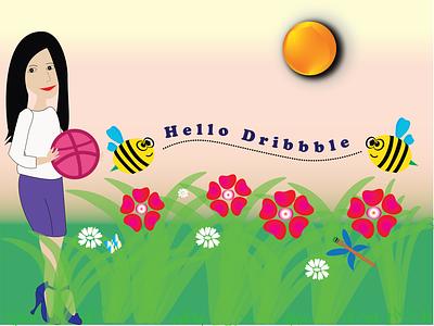 Hello Dribbble flat vector illustration design