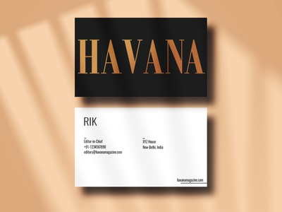 Havana  Magazine business card v.1 brand identity business card layout typography cover graphicdesign fashion editorial design magazine branding