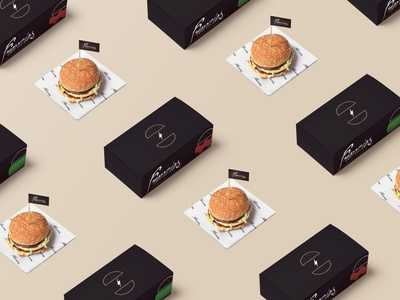 Frenzies Burger food packaging v.2 box concept restaurant packaging burger food identity brand logo graphic design branding design
