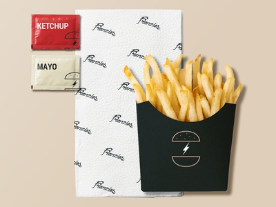 Frenzies Burger French fries restaurant packaging french fries food concept design identity brand branding logo graphic design
