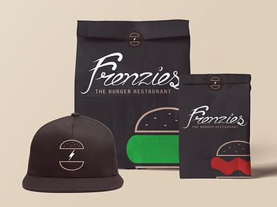 Frenzies Burger food packaging v.3 restaurant cap burger packaging identity brand branding graphic design logo food concept design
