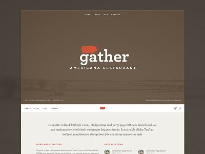 Gather Website restaurant web ui icon navigation fixed header social archer gotham avatar simple