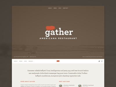 Gather Website restaurant web ui icon navigation fixed header social archer gotham avatar simple