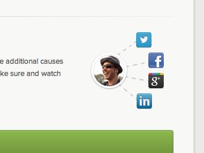 Share Your Generosity sharing buttons icons twitter facebook google linkedin dots lines avatar proxima nova