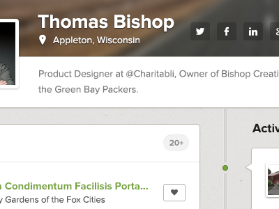 Profile Exploration charitabli profile icons social location map proxima nova badge stream activity timeline