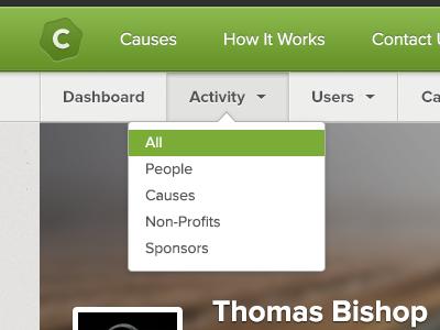 User Bar charitabli user bar admin navigation menu active list proxima nova