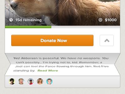 Charitabli Causes Grid Exploration grid fold animation button arrow icon progress indicator target goal time proxima nova avatar user
