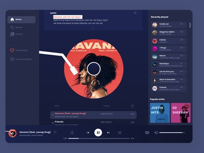 Music player spotify music product design interaction motion graphics ui