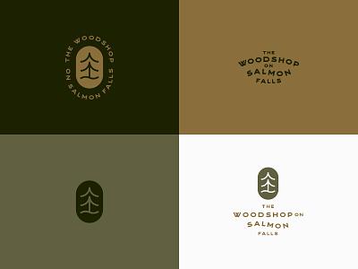 The Woodshop on Salmon Falls pt. I vintage typography badge river woodworking woodshop trees gold green color branding logo