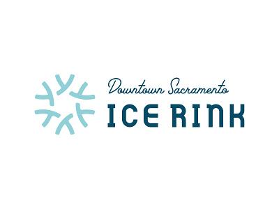 Downtown Sacramento Ice Rink Logotype Lockup lockup icon winter wonderland snowflake ice rink logo design logo