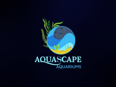 aquascape aqurium logo app abstract water logo sea grass typogaphy logo design flat minimal branding sea life illustration underwater illustration fish logo aquascape logo aquarium logo