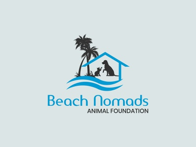 Beach Nomads Animal Foundation Logo animal wave logo nature tree logo palm tree beach logo sea logo minimal flat branding logo design animal lover dog house animal house cat logo dog logo animal logo animal foundation logo