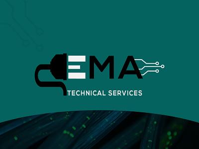 EMA Technology logo icon business typogaphy luxury logo logo design minimal flat branding wire logo technology logo it logo electricity logo tech logo