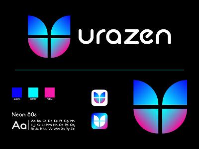 Modern U Logo Design brand identity elegant creative purplr gradient blue gradient feminine logo fashion logo gradient logo butterfly logo vector typogaphy logo design minimal flat branding u logo