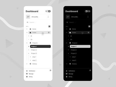 navigation bar menu bar graphic design dark night minimal navigation bar web ui uiux light dark project manager dashboard nav
