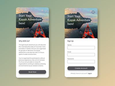 Sign Up Page dailyuichallenge daily ui 001 dailyui kayaking kayak booking sign up design ux ui figma