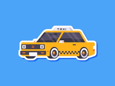 Car Sticker - Taxi cab yellow taxi sticker simple madeinaffinity illustration flat car affinitydesigner affinity