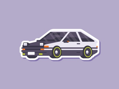 Car Sticker - AE86 Drift Car illustration madeinaffinity affinity designer affinity flat drift ae86 sticker car