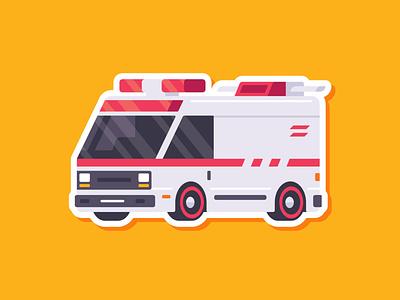 Car Sticker - Ambulance red ambulance sticker simple madeinaffinity illustration flat car affinitydesigner affinity