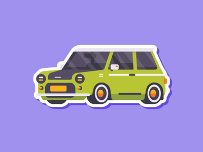 Car Sticker - Mini (Inspired by Mr. Bean Car) cute green bean austin morris mini sticker simple madeinaffinity illustration flat car affinitydesigner affinity