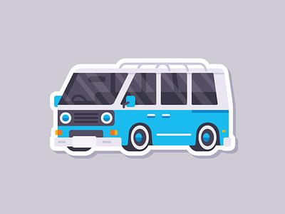 Car Sticker - Retro Van classic van retro sticker simple madeinaffinity illustration flat car affinitydesigner affinity