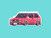 Car Stiker - Retro Hot Hatches madeinaffinity flat affinitydesigner affinity retro hot hatch car illustration cute simple flat style illustration vector sticker car