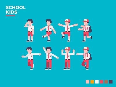 Indonesian School Kids simple vector design indonesia illustration flat character kids school