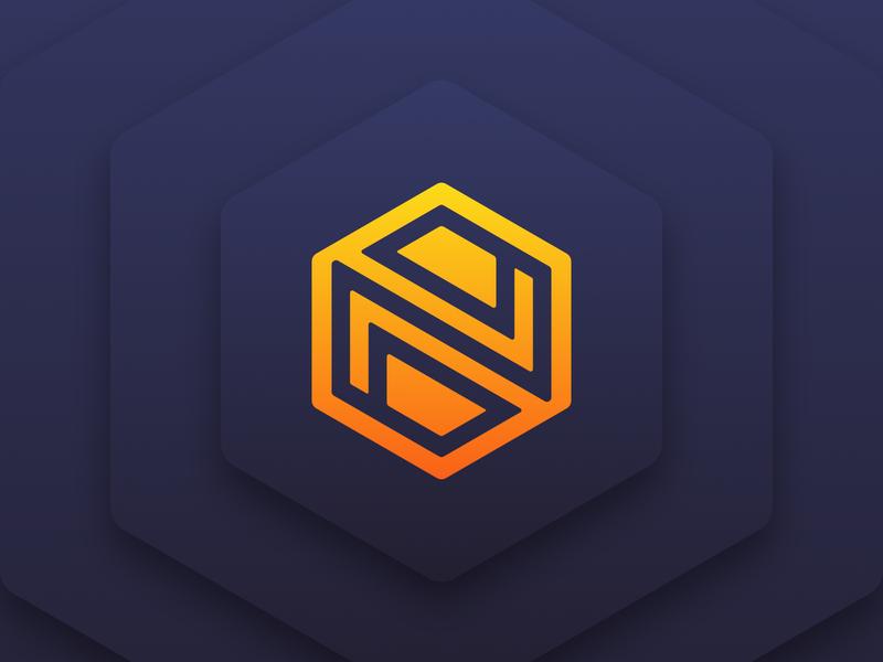 Hexagon + N Logo hexagon box n logo branding yellow logo affinity app icon design icon vector flat simple