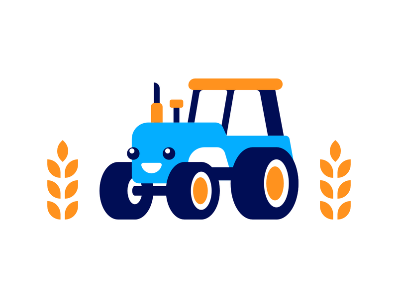 Cute Tractor field cute tractor logo illustration affinity design icon vector flat simple