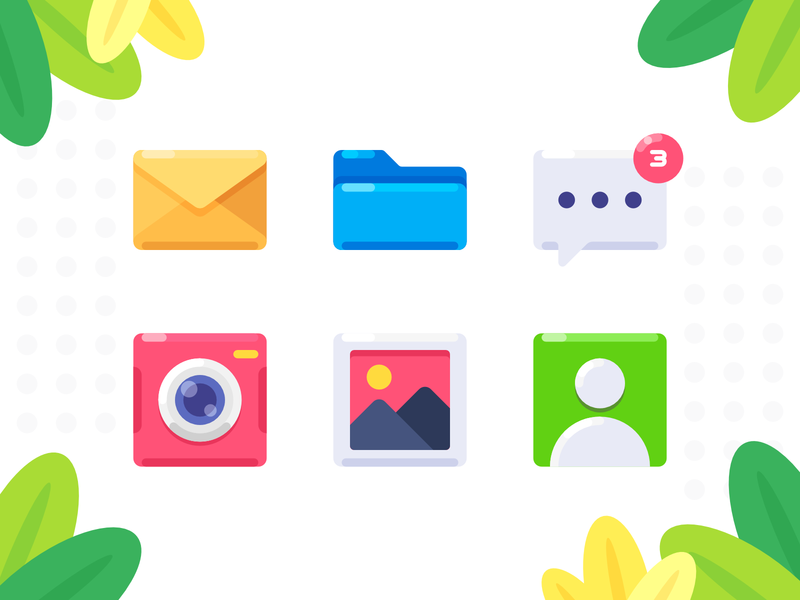 Small Icon camera gallery contact folder mail affinity design icon vector flat simple