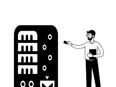machine for commerce bank card man e-commerce comercial machine illustration
