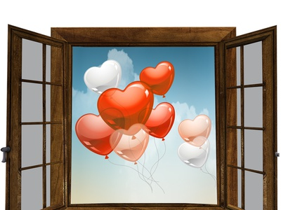 window  illustration birthday wedding happy sky flayer ballons window design icon card illustration