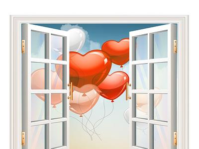 window  card present wedding happy ballons flyer sky window design card illustration