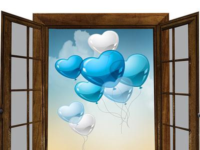 window 2 invite wedding ipeg jpg eps vector branding ballons happy design logo card illustration