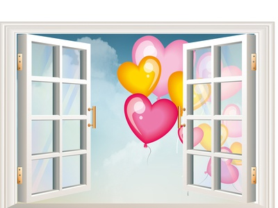 window vector ballons happy card illustration