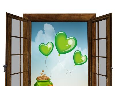 Patrick day. 17 March. illustration green sky irish gold pot march 17 day patrick jpeg jpg vector ballons happy card logo illustration