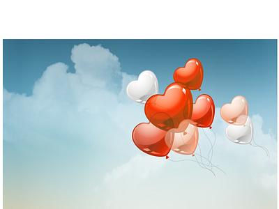 blue sky  card present party birthday happy wedding ballons vector design card illustration
