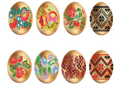 easter eggs set gold png jpg folk ornament eggs easter eggs easter vector design happy icon logo card illustration