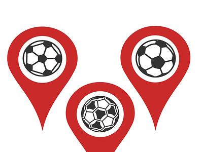 icon illustration sport football map pointer location football sport card design logo icon illustration