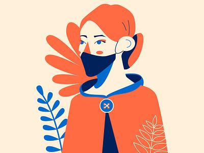 Fall chic woman portrait illustration flat design character design