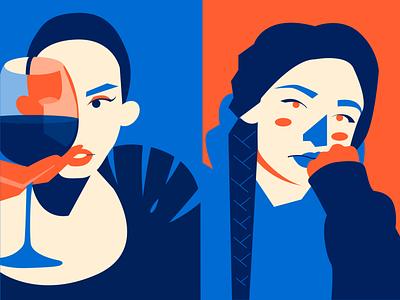 night n day flatdesign vector sweatpants wine women portrait illustration flat design character design