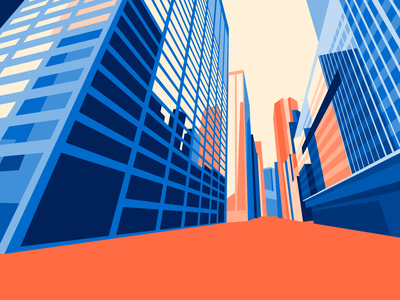 NY 148 Water St skyscraper geometric abstract perspective new yorker architecture illustration flat design