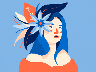 Flower hat minimal portrait character design illustration flat design